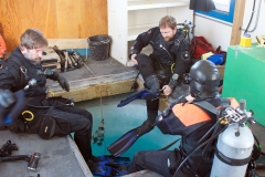 Dive Team about to explore under the ice at McMurdo Sound