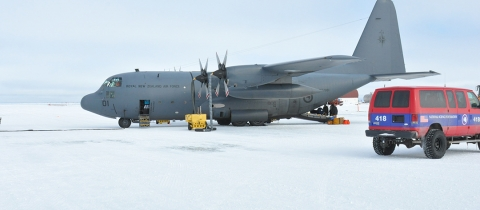 New Zealand Royal Air Force LC-130 cargo plane